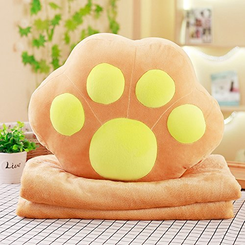 HOMEE Lovely Dog Paws Pillow Cushion Blankets Three-In-One Birthday Geek Gift of Boys and Girls to Hand Warmers ,4035Cm 11.7M, and Red Dog Claws,Light brown,4035cm by HOMEE