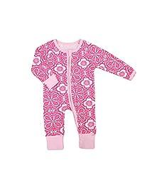 Baby Girl Floral Pajamas Cute Flower Print Blanket Sleeper Long Sleeve Coveralls