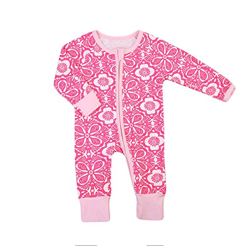 Girl Pajamas Floral Sleeper Cute Flower Print Coveralls Clothes (90(12-18 Months), Rose Red) ()