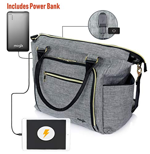 Smart Baby Diaper Bag with Portable Phone Charger, Changing Pad, Wet Dry Bag - Large Tote, Unisex, Best for Rechargeable Breast Pump and Travel