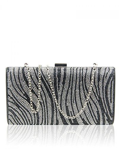 Wedding Bridal Out CWE012 Evening Bag BLACK WAVE Sparkly Crystal Night Prom Diamante For Women's LeahWard nRPHU0q