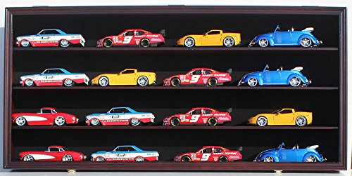 Nascar Shelf - NASCAR Diecast Model Car Display Case Hot Wheels Wall Cabinet Holds 16 Cars 1/24 Scale, with door (Mahogany Finish)