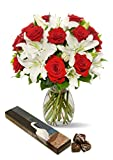 Benchmark-Bouquets-Roses-and-Oriental-Lilies-With-Vase-and-8-piece-Chocolate-Caramels