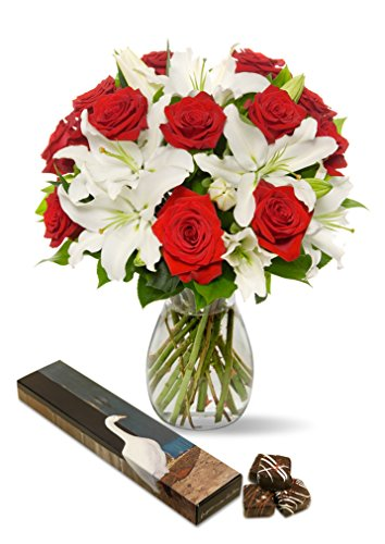 Benchmark Bouquets Roses and Oriental Lilies, With Vase and 8-piece Chocolate Caramels