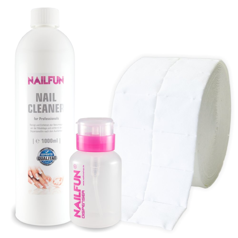 Nail Cleaner 1 Liter = 1000ml + 500 Zelletten (1 Rolle) + 1 Pumpflasche / Dispenser 170ml [ 99.9 % Isopropanol kosmetisch ] NAILFUN ®