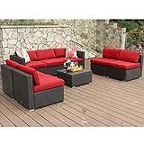 PHI VILLA Outdoor Rattan Sectional Sofa- Patio Wicker Furniture Set (8-Piece)