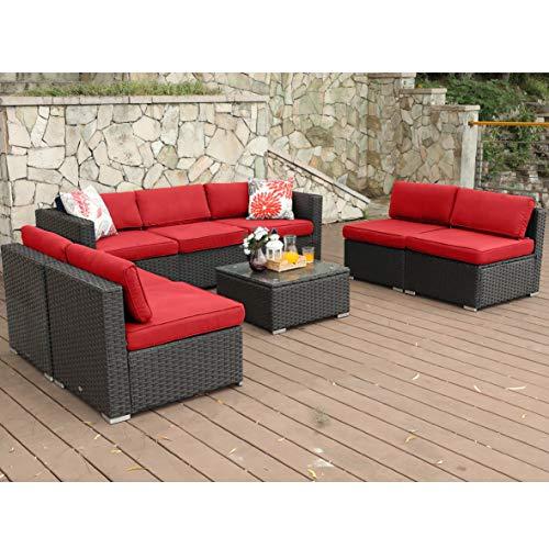PHI VILLA Outdoor Rattan Sectional Sofa- Patio Wicker Furniture Set (8-Piece) For Sale