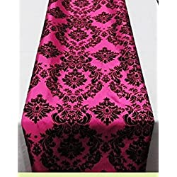 "lovemyfabric Taffeta Flocking Damask Table Runners Wedding, Bridal Shower/Baby Shower, Dinner, Special Events/Graduation Home Decor (12""X60"", Black on Fuchsia)"