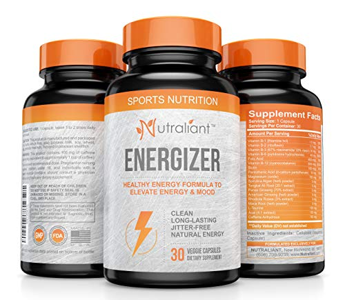 #1 Best Energy Pills with Caffeine, Ginseng, Taurine, B Vitamins + All Day, No Crash Jitter-Free Performance Booster Supports Smooth Energy, Memory & Alert Focus for Men & Women – Natural Supplement