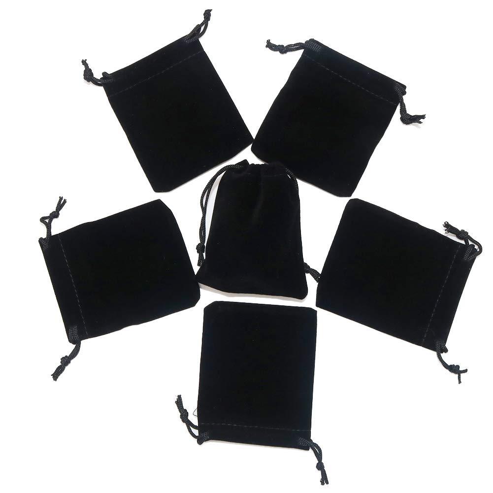 "5be48ea7ad196 HRX Package Little Velvet Drawstring Pouches, 20pcs Black Velvet Cloth Bags  for Jewelry Small Gift (2.8"" X 3.6"")"