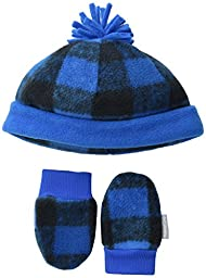 Columbia Baby Infant Frosty Fleece Hat and Mitten Set, Super Blue Buffalo Print, O/S