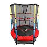 X-MAG 55'' Round Kids Mini Trampoline With Enclosure Net Pad Rebounder Outdoor Exercise