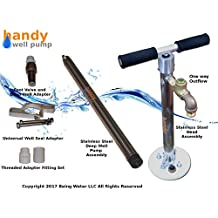 Handy Well Pump Model HWP-(2017) Stainless Steel Hand Well Pump Kit, Permanent, up to 150' Deep Well Water Pump
