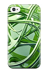 DuHqKoQ9959APsuv Contrast Fractals Textures Colors Shapes Shades Artistic Depth Cgi Green Abstract Other Fashion Tpu 4/4s Case Cover For Iphone