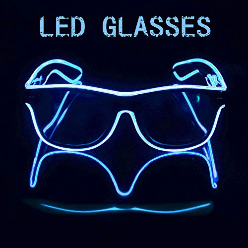 Blazing Fun El Wire Glow Glasses Led DJ Bright Light Safety Light Up Multicolor led flashing glasses with 4 Modes for Halloween Christmas Birthday Party (blue) -