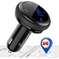 CHGeek Bluetooth FM Transmitter, Smart Car Locator, Wireless MP3 Player Radio Adapter, Hands-free Car Kit, 5V/2.1A Dual Port USB Car Charger, for iPhone X 8, Samsung Galaxy S8 S7, LG, HTC CH09