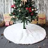 IDOMIK Christmas Tree Skirts & Mats-White Soft Faux Fur Plush Holiday Decorations Xmas Ornaments