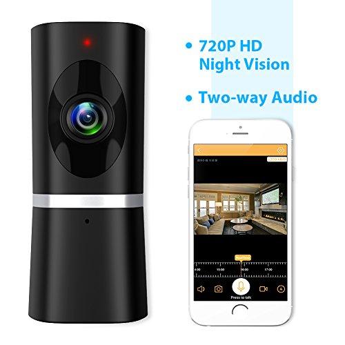 Wireless Security Camera 720P HD, Takihoo Indoor IP Surveillance Camera Home Baby Pet Monitor with 2-Way Audio, Night Vision, 180 Wide Angle Fisheye, P2P Remote Viewing IR Camera Panorama, Black