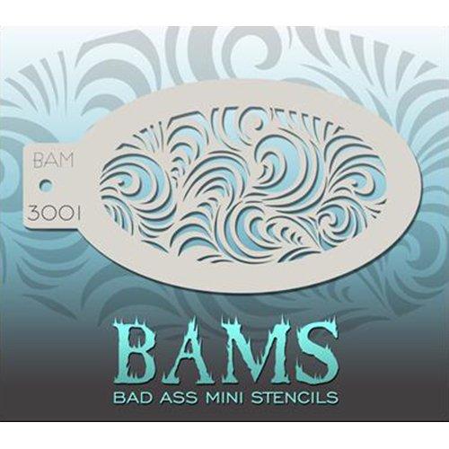 Bad Ass Modern Swirls Mini Stencil BAM3001 (Swirls Stencils)