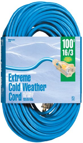 Woods 2436 16/3 Outdoor Cold-Flexible SJTW Extension Cord, Blue with Lighted End, ()