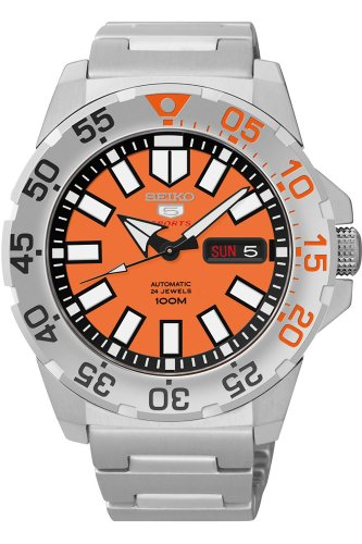 Seiko Baby Monster Automatic Orange Dial Stainless Steel Men
