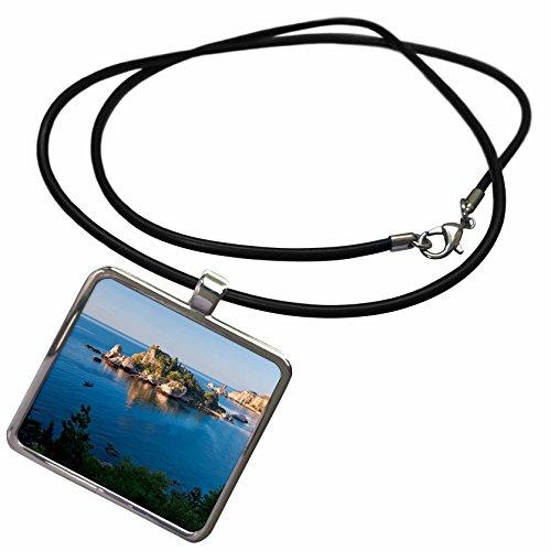 Isola Island (3dRose Danita Delimont - Italy - View of Isola Bella island, Taormina, Sicily, Italy - Necklace With Rectangle Pendant)