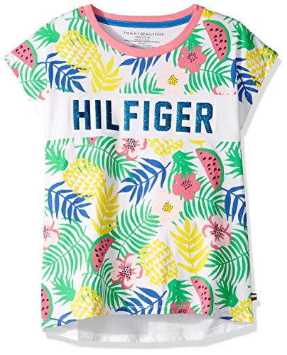 Tommy Hilfiger Big Girl's Big Girls' Short Sleeve Fashion Top Shirt, tropical white, M8/10 (Tommy Hilfiger Jeans Shorts Women)