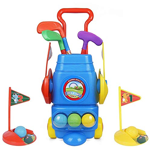- ToyVelt Kids Golf Club Set - Golf CartWith Wheels, 3 Colorful Golf Sticks, 3 Balls & 2 Practice Holes - Fun Young Golfer Sports Toy Kit for Boys &Girls - Promotes Physical & Mental Development