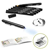 NoteShield Counterfeit Bill Detector Kit - Counterfeit Money Loss Prevention - Small Business Security Dollar Tester Set - 6 x Counterfeit Money Pens, Magnifying Glass, UV Light and Fake Money Guide