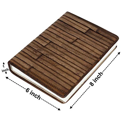 Antique Wooden Finish Leather Journal - Specially Handcrafted Bound Notes Notebook Notepad