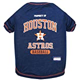 MLB HOUSTON ASTROS Dog T-Shirt, Small. - Licensed Shirt for Pets Team Colored with Team Logos