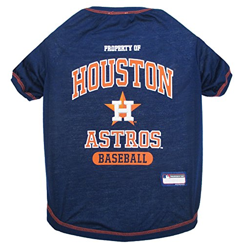 MLB Houston Astros Dog T-Shirt, X-Small. - Licensed Shirt for Pets Team Colored with Team Logos