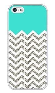 Chevron Pattern Turquoise Grey White Case - Apple iPhone 5 Case - iPhone 5s Case - Hard Plastic Case