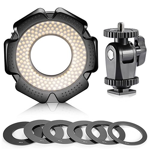 Neewer® R-160 160 Pieces 5600K 10W Mini LED Macro Ring Light with 6 Adapter Rings (49mm/52mm/55mm/58mm/62mm/67mm)for Macro Canon/Nikon/Sony/Sigma/Tamron Lens by Neewer