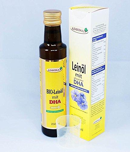 Adrisan BIO-Leinöl mit DHA, 1x 250 ml mit Dosierer, natives Speiseöl aus 1. Kaltpressung (250)
