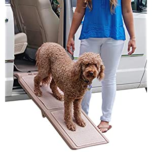 Pet Gear Travel Lite Bi-Fold Ramp for Cats/Dogs, Lightweight/Portable, Safety Tether Included, Rubber Grippers for… Click on image for further info.