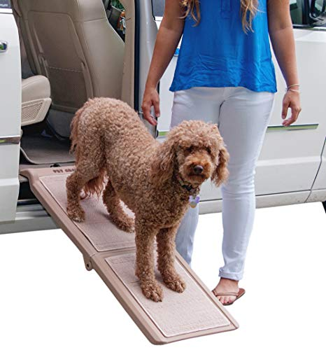 "Pet Gear Travel Lite Bi-Fold Ramp for Cats/Dogs, Lightweight/Portable, Safety Tether Included, Rubber Grippers for Stability, Bi-Fold Half Ramp 42"" L, Tan"