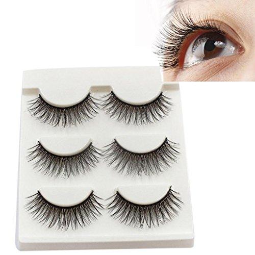 WensLTD 3Pairs Long Cross False Eyelashes Makeup Natural Fake Thick Black Eye Lashes (F) -
