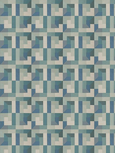 Spa Blue Aqua Teal Geometric Abstract Contemporary Modern Wovens Upholstery Fabric by the yard - Modern Contemporary Upholstery Fabric