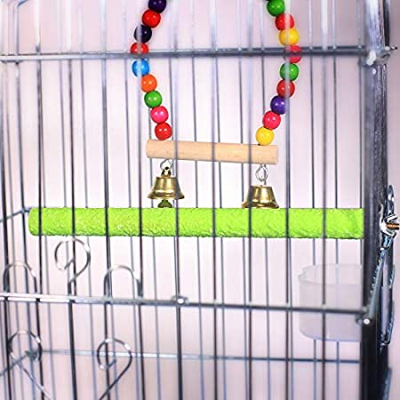2Pack Bird Parrot Cage Perch Sand-Surface Stand Toy Molar Wood Stick Platform Grinding Branch for Macaw African Greys Budgies Cockatoo Parakeet Cockatiel Conure Lovebirds