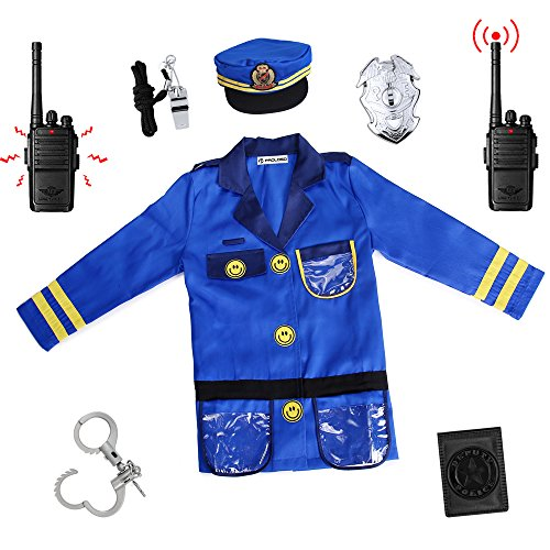 PROLOSO Police Officer Costumes Role Play Kit, Ages 3-6 Years (Walkie Talkie Have Two-Way talkback - Officer Police Outfit