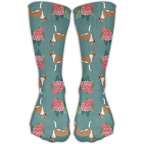 Cananhjs Boxer With Flowers,Florals, Pet Dog Print Athletic Tube Stockings Women's Men's Classics Socks Sport Long Sock One (Print Soccer Boxers)