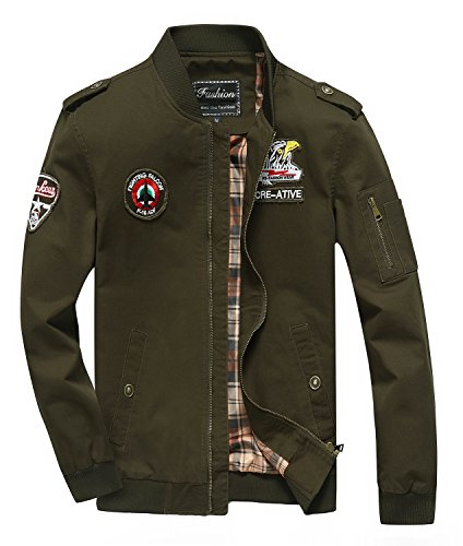 Cheerun Men's Bomber Jacket Military Jacket Men Lightweight Warm Cotton Casual Jackets Thick Stand Collar Coat Army Green Small (Cotton Embroidered Jacket)
