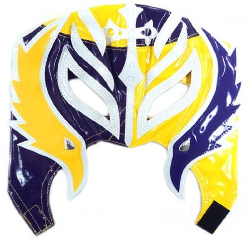 Official Rey Mysterio Kids YOUTH Replica Half Mask Purple & Yellow (Mysterio Wwe For Mask Rey Kids)