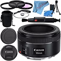 Canon EF 50mm f/1.8 STM Lens 0570C002 + 49mm 3 Piece Filter Kit + Lens Cleaning Kit + Lens Pouch + Lens Pen Cleaner + Fibercloth Bundle