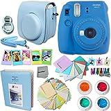 Fujifilm Instax Mini 9 Instant Camera COBALT BLUE (NEW 2017 Release) + Accessories Kit / Bundle Includes: Mini 9 Case with Strap + Photo Album + Frames + 4 Color Filters + Large Selfie Mirror + MORE