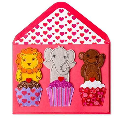 Papyrus Happy Valentine's Day Embellished Valentine's Cards - with Coordinating Envelope and Gold Envelope Seal (Animals Felt Finger Puppet Kids Valentine Day Card) (Felt Embellished)