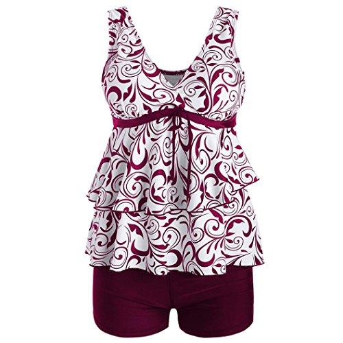 26ceffb16e1dc WOCACHI Women Swimsuit Plus Size Bikini Set Swimwear Push-up Padded Print  Beachwear Red