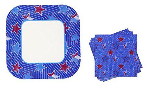 Square Patriotic Colors Plates and Napkins 28 Piece Set ~ Serves 14 (Red, White and Blue Stars)