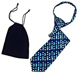 Boys 11'' Navy Blue & Turquoise Geometric Spring Holiday Zipper Novelty Necktie & Gift Bag